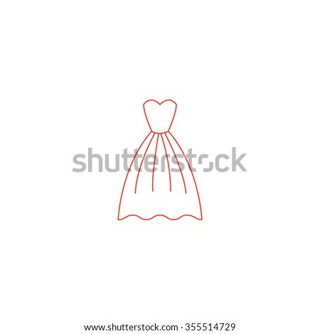 Elegant red dress icon vector. Women clothes.