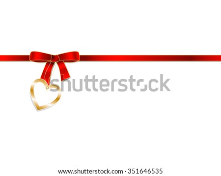 Elegant  red ribbon bow with love heart  badge