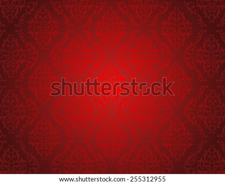 Elegant red shiny damask seamless pattern background. perfect as stylish wedding invitations and other party invitation cards or announcement backgrounds - stock vector