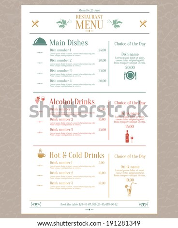 Menu List Stock Images RoyaltyFree Images  Vectors  Shutterstock