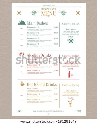 Elegant restaurant menu list with decorative elements vector illustration - stock vector