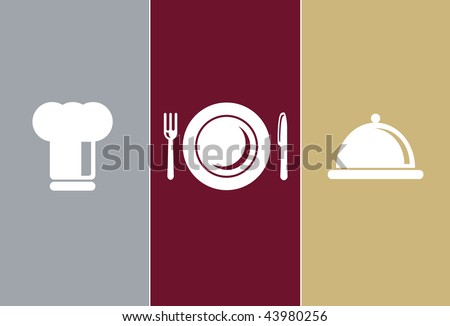 Elegant Restaurant Symbols - cook cap, knife, fork, plate and casserole - stock vector