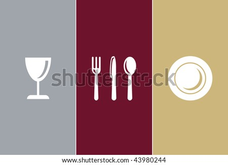 Elegant Restaurant Symbols - whine glass, knife, fork, spoon and plate - stock vector
