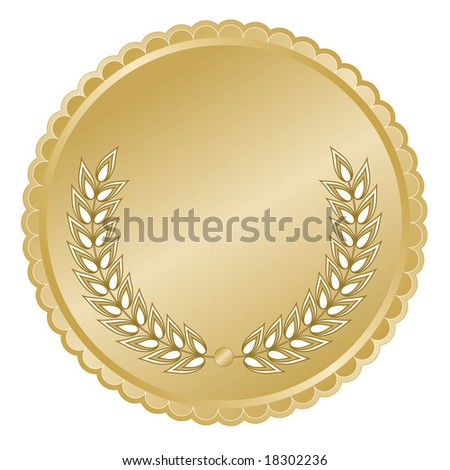 Elegant rich gold medallion or seal with laurel branches and detailed decorative scalloped edge for anniversary or commemorative use. - stock vector
