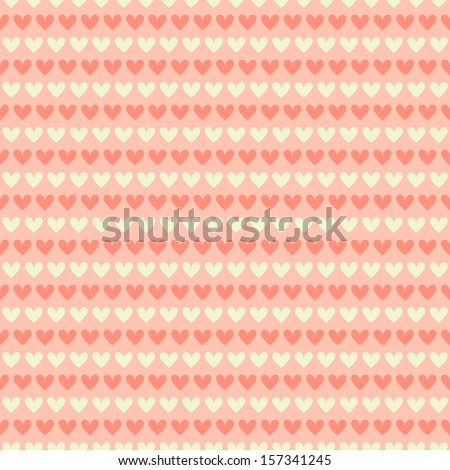 Elegant romantic vector seamless pattern (tiling). Retro pink, brown and blue colors. Endless texture can be used for printing onto fabric and paper or scrap booking. Sweet heart stripes. - stock vector