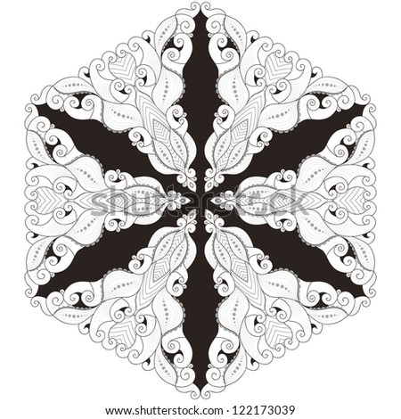 Elegant round lace pattern. Black, white and gray. Easy to change colors. Six rays.
