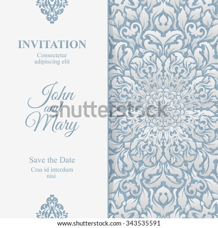 Elegant Save The Date card. Luxury vintage invitation card template. Ornate calligraphic floral greeting card.
