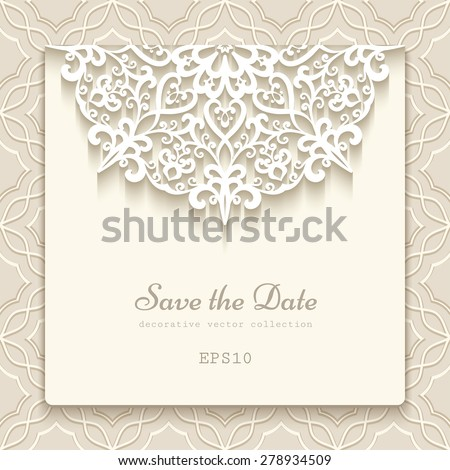 Elegant save the date card with lace decoration, vintage wedding invitation or announcement template, vector esp10 - stock vector