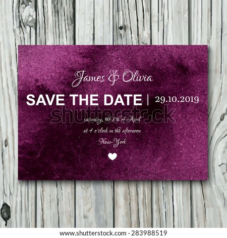 Elegant save the date wedding invitation with watercolor violet background. Card template design on a wooden background. - stock vector