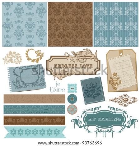 Elegant Scrapbook Design Elements - Vintage Frames and Damask elements in vector - stock vector