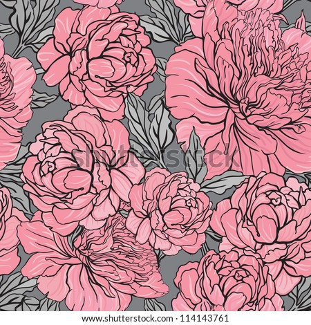 Elegant Seamless color peony pattern on gray background, vector illustration - stock vector