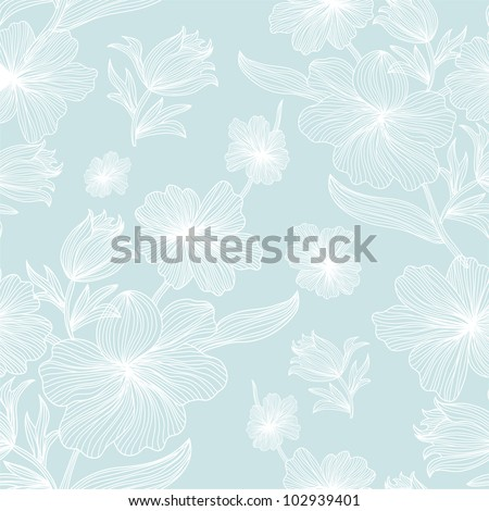 elegant seamless floral pattern in soft blue white colors for your design - stock vector