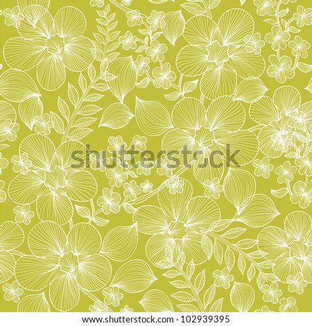 elegant seamless floral pattern in soft green white colors for your design - stock vector