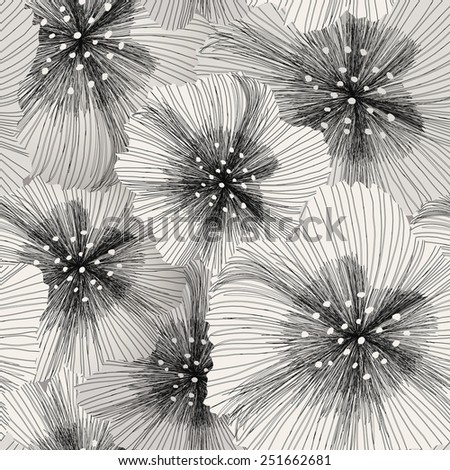 elegant seamless floral pattern in white and black - stock vector