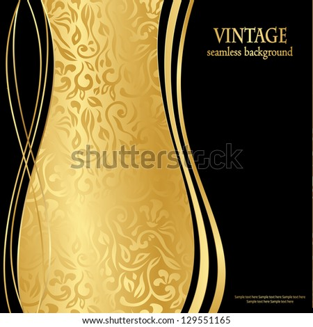 Elegant seamless gold wallpaper. Can be used as greeting card or invitation - stock vector
