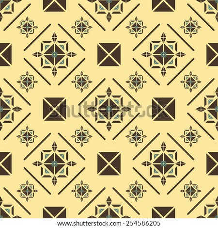 Elegant seamless pattern in royal style. Beautiful contrast print in yellow, brown, blue colors. Vector illustration for various creative projects - stock vector