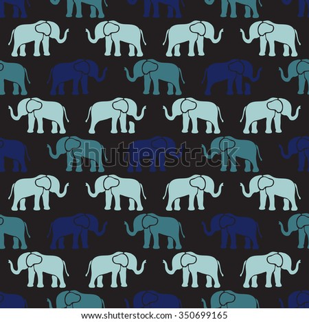 Elegant seamless pattern with abstract elephant symbols, design elements. Can be used for invitations, greeting cards, scrapbooking, print, gift wrap, manufacturing. Animal theme - stock vector