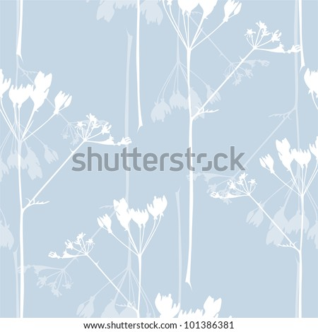 elegant seamless pattern with abstract flowers in soft blue colors for your design - stock vector