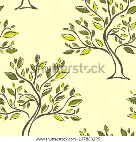 elegant seamless pattern with abstract trees for your design - stock vector
