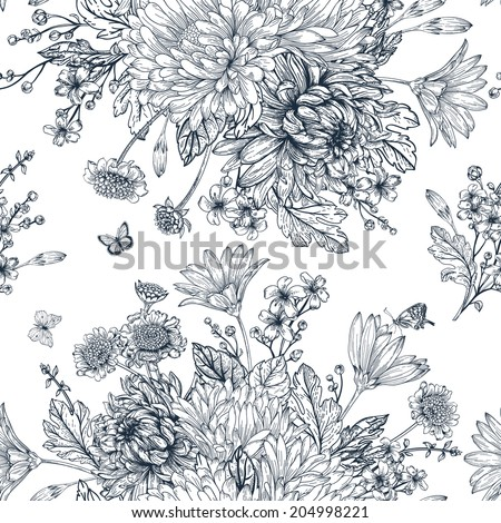 Elegant  seamless pattern with  bouquets of  flowers on a white background. Garden asters, chrysanthemums, daisies. Vector monochrome illustration. Black and white background. - stock vector