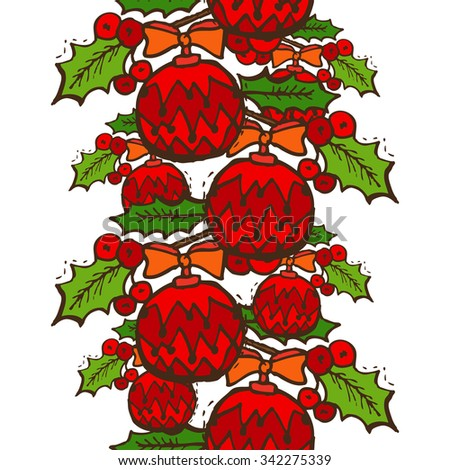 Elegant seamless pattern with christmas decorations and holly berries, design elements. Can be used for winter holiday invitations, greeting cards, scrapbooking, print, gift wrap, manufacturing - stock vector