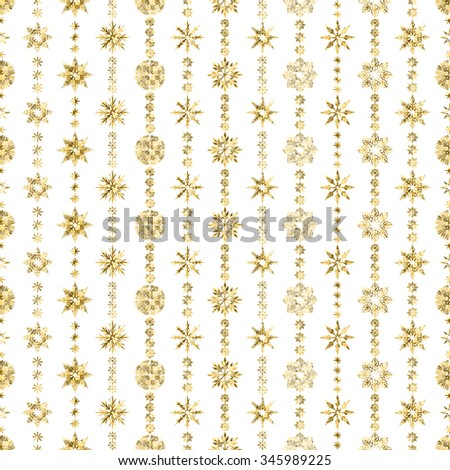 Elegant Seamless pattern with Christmas decorations. Garland from snowflakes with gold glitter on a white background - stock vector