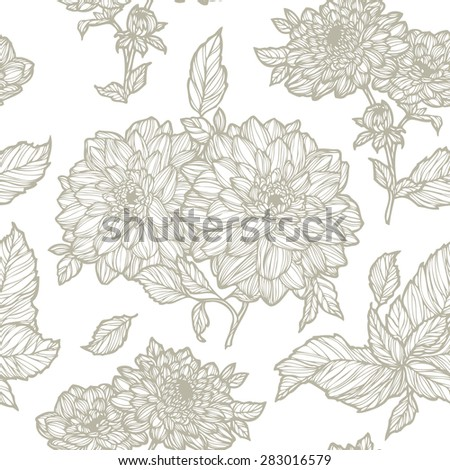Elegant Seamless pattern with chrysanthemum flowers ornament, vector floral illustration in vintage style - stock vector