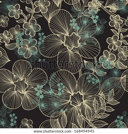 elegant seamless pattern with decorative flowers for your design - stock vector