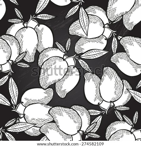 Elegant seamless pattern with decorative mango fruits, design elements. Can be used for invitations, greeting cards, scrapbooking, print, gift wrap, manufacturing. Chalkboard food background - stock vector