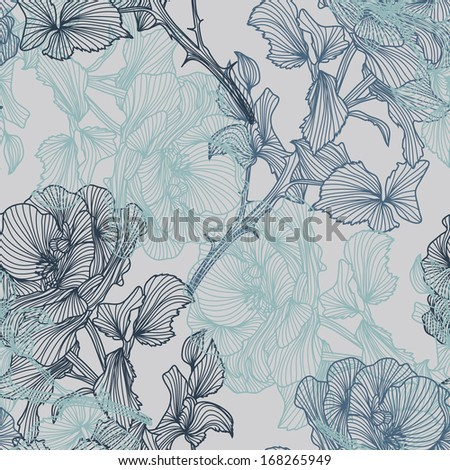 elegant seamless pattern with decorative roses for your design - stock vector