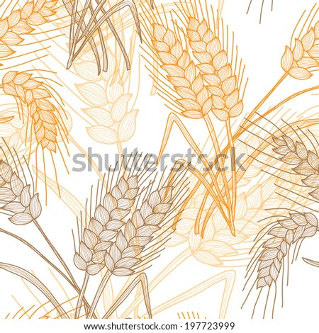 stock vector elegant seamless pattern with decorative wheat plants design element floral pattern for 197723999 - Каталог — Фотообои «Еда, фрукты, для кухни»