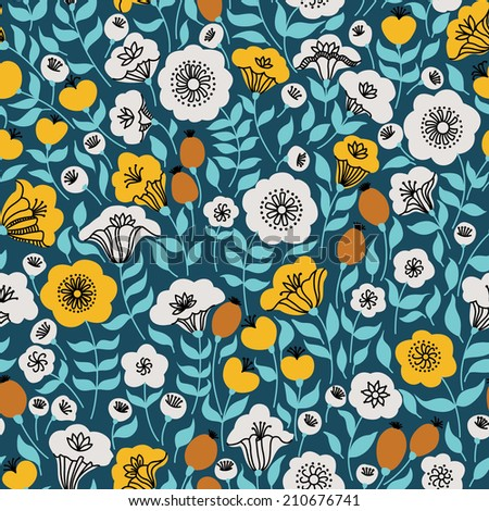 Elegant seamless pattern with flowers, vector illustration. Can be used for desktop wallpaper or frame for a wall hanging or poster, surface textures, web page backgrounds, textile and more. - stock vector