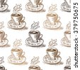 Elegant seamless pattern with hand drawn cappuccino cups, design element. Can be used for food invitations, cards, scrapbooking, print, gift wrap, manufacturing, cafe, bakery, restaurant menu. - stock vector