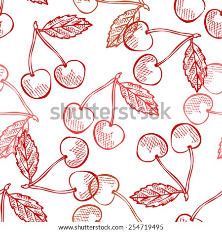 Elegant seamless pattern with hand drawn decorative cherries, design elements. Can be used for invitations, greeting cards, scrapbooking, print, gift wrap, manufacturing. Food background - stock vector