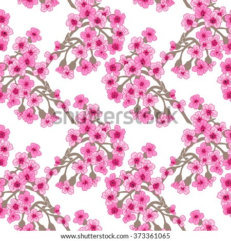Elegant seamless pattern with hand drawn decorative cherry blossom flowers, design elements. Floral pattern for wedding invitations, greeting cards, scrapbooking, print, gift wrap, manufacturing. - stock vector