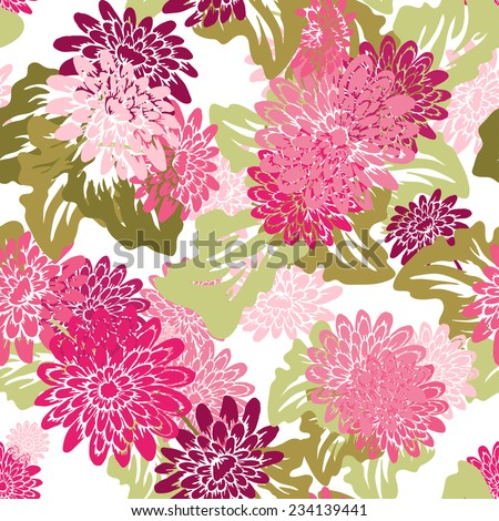 Elegant seamless pattern with hand drawn decorative gerbera flowers, design elements. Floral pattern for wedding invitations, greeting cards, scrapbooking, print, gift wrap, manufacturing. - stock vector