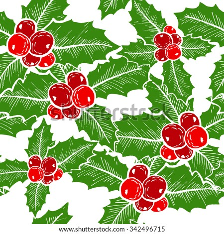 Elegant seamless pattern with hand drawn decorative holly berries, design elements. Can be used for winter holiday invitations, greeting cards, scrapbooking, print, gift wrap, manufacturing - stock vector