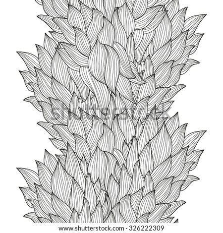 Elegant seamless pattern with hand drawn decorative leaves, design elements. Floral pattern for wedding invitations, greeting cards, scrapbooking, print, gift wrap, manufacturing. - stock vector