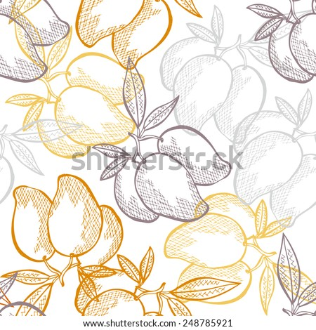 Elegant seamless pattern with hand drawn decorative mango fruits, design elements. Can be used for invitations, greeting cards, scrapbooking, print, gift wrap, manufacturing. Food background - stock vector