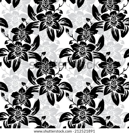 Elegant seamless pattern with hand drawn decorative orchid flowers, design elements. Floral pattern for wedding invitations, greeting cards, scrapbooking, print, gift wrap, manufacturing. - stock vector