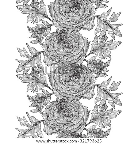 Elegant seamless pattern with hand drawn decorative ranunculus flowers, design elements. Floral pattern for wedding invitations, greeting cards, scrapbooking, print, gift wrap, manufacturing. - stock vector