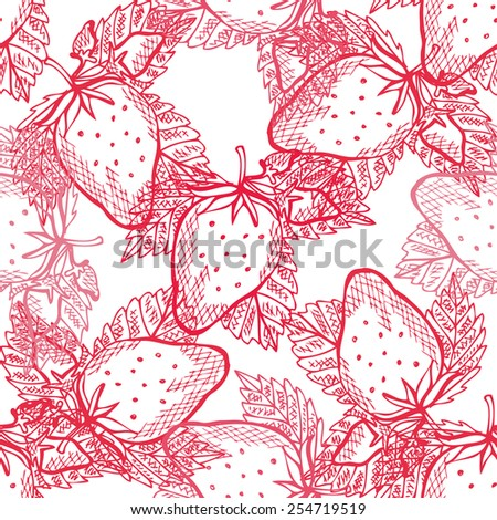 Elegant seamless pattern with hand drawn decorative strawberries, design elements. Can be used for invitations, greeting cards, scrapbooking, print, gift wrap, manufacturing. Food background - stock vector