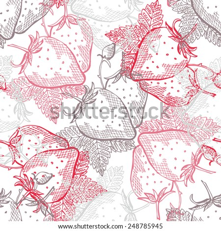 Elegant seamless pattern with hand drawn decorative strawberry fruits, design elements. Can be used for invitations, greeting cards, scrapbooking, print, gift wrap, manufacturing. Food background - stock vector