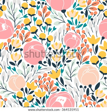 Elegant seamless pattern with pink flowers. Vector illustration - stock vector