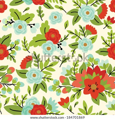 Elegant seamless pattern with red and blue floral bouquets, vector illustration - stock vector