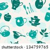 elegant seamless pattern with tea accessories for your design - stock vector
