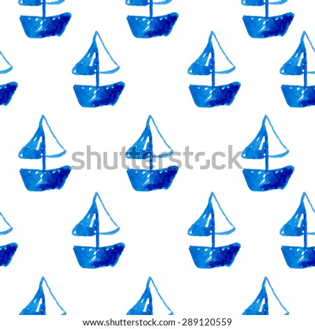 Elegant seamless pattern with watercolor painted boats, design elements. Can be used for summer, vacation invitations, greeting cards, scrapbooking, print, gift wrap, manufacturing - stock vector