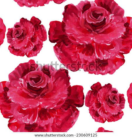 Elegant seamless pattern with watercolor painted red rose flowers, design elements. Floral pattern for wedding invitations, greeting cards, scrapbooking, print, gift wrap, manufacturing - stock vector