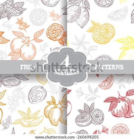 Elegant seamless patterns set with hand drawn decorative fruits, design elements. Can be used for invitations, greeting cards, scrapbooking, print, gift wrap, manufacturing. Food background - stock vector