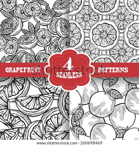 Elegant seamless patterns set with hand drawn decorative grapefruits, design elements. Can be used for invitations, greeting cards, scrapbooking, print, gift wrap, manufacturing. Food background - stock vector